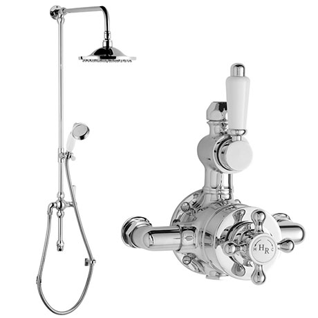 Hudson Reed Traditional Twin Valve Inc. Grand Rigid Riser Kit & Shower Rose