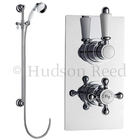 Hudson Reed Traditional Twin Concealed Thermostatic Shower Valve w/ Slide Rail Kit Large Image