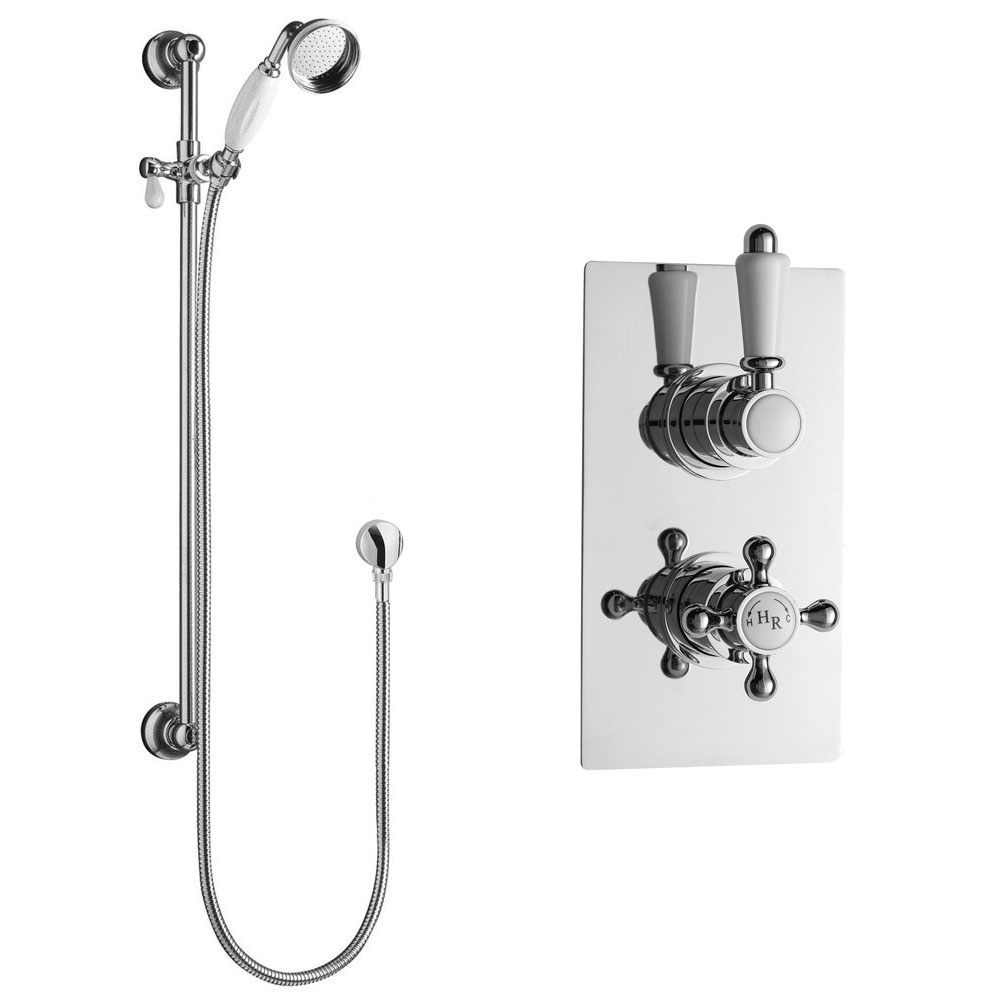 Hudson Reed Traditional Twin Concealed Thermostatic Shower Valve + Slide Rail Kit