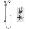 Hudson Reed Traditional Twin Concealed Thermostatic Shower Valve + Slide Rail Kit profile small image view 1