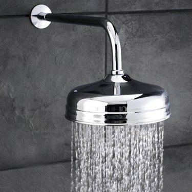 """Hudson Reed Traditional Twin Concealed Thermostatic Shower Valve + 8"""" Fixed Head profile large image view 2"""