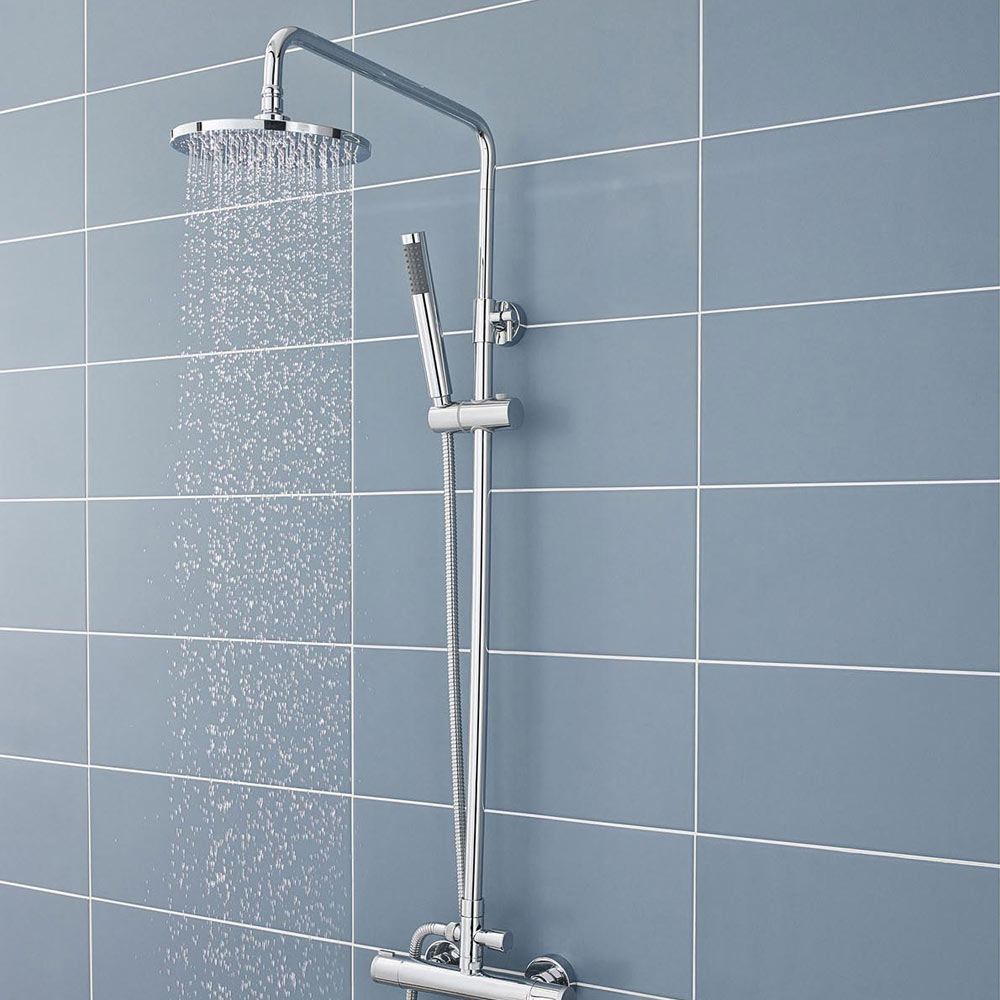 Ultra Telescopic Riser Kit with Round Shower Head - Chrome - A3113 profile large image view 2