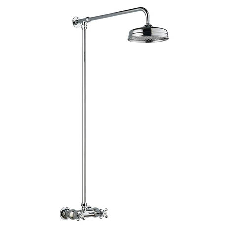 Hudson Reed Traditional Thermostatic Shower Valve with Rigid Riser & Fixed Head - A3118