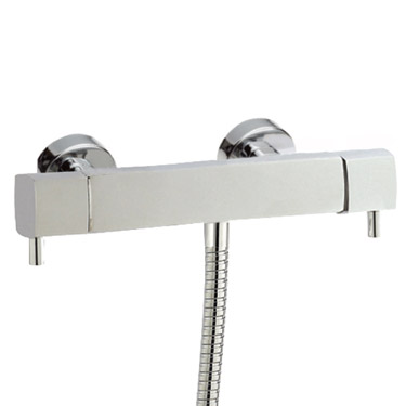 Hudson Reed Quadro Thermostatic Bar Valve with Sheer Slide Rail Kit - Chrome Feature Large Image