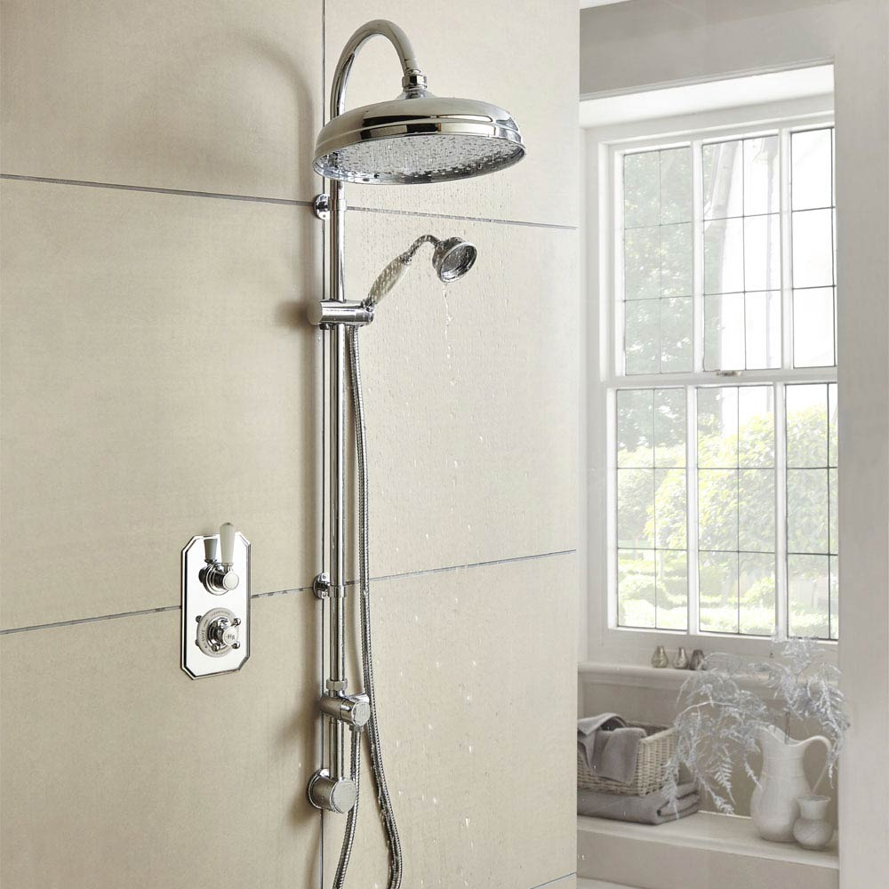 Hudson Reed Topaz Traditional Twin Concealed Valve with Luxury Rigid Riser Kit profile large image view 1