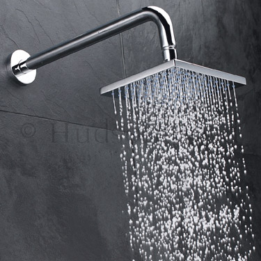 Hudson Reed Square Sheer Fixed Shower Head & Arm - Chrome - A3242 Profile Large Image