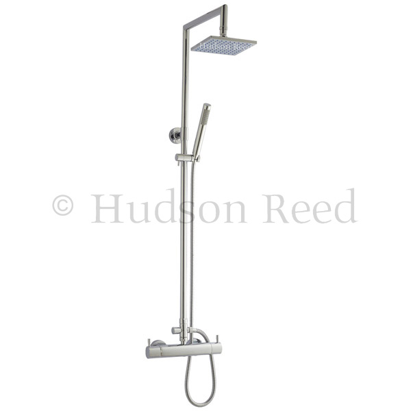 Hudson Reed Minimalist Thermostatic Bar Valve + Tiamo Rigid Riser Kit - Chrome