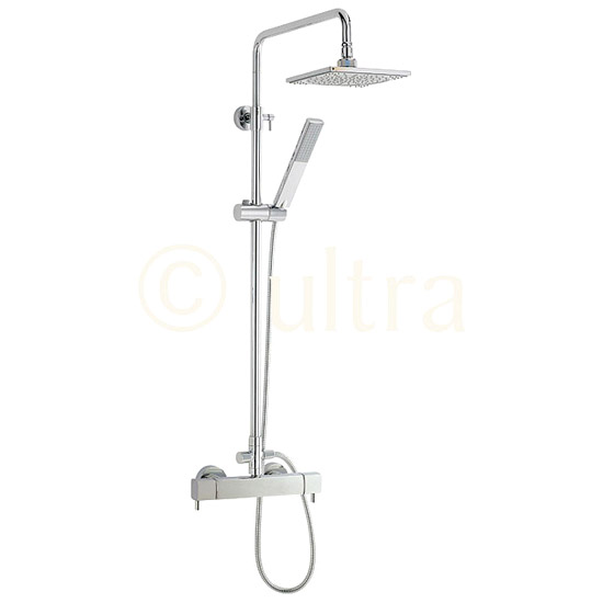 Ultra Quadro Thermostatic Bar Valve with Telescopic Shower Kit - Chrome profile large image view 1