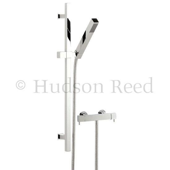 Hudson Reed Quadro Thermostatic Bar Valve with Kubix Slide Rail Kit - Chrome Large Image