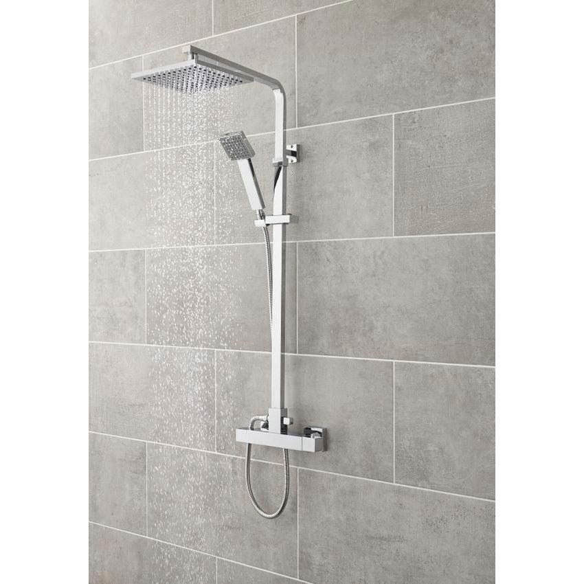Ultra Square Thermostatic Bar Valve with Rigid Riser Kit - Chrome - A3559 profile large image view 2