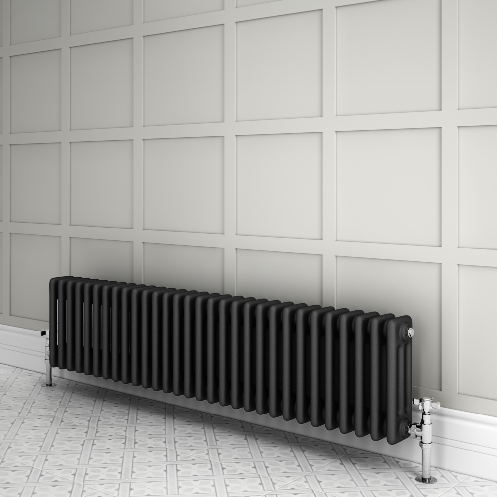 Keswick 300 x 1355mm Cast Iron Style Traditional 3 Column Anthracite Radiator