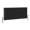 Keswick 450 x 1008mm Cast Iron Style Traditional 3 Column Anthracite Radiator profile small image view 1