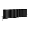 Keswick 450 x 1413mm Cast Iron Style Traditional 3 Column Anthracite Radiator profile small image view 1