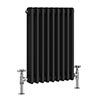 Keswick 600 x 423mm Cast Iron Style Traditional 3 Column Anthracite Radiator profile small image view 1