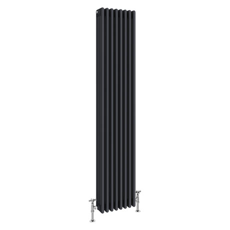 Keswick 1800 x 372mm Cast Iron Style Traditional 4 Column Anthracite Radiator
