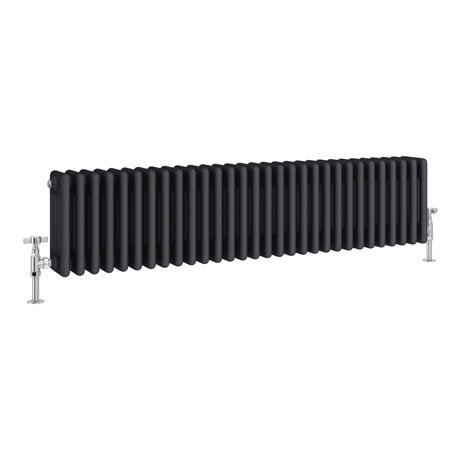 Keswick 300 x 1340mm Cast Iron Style Traditional 4 Column Anthracite Radiator