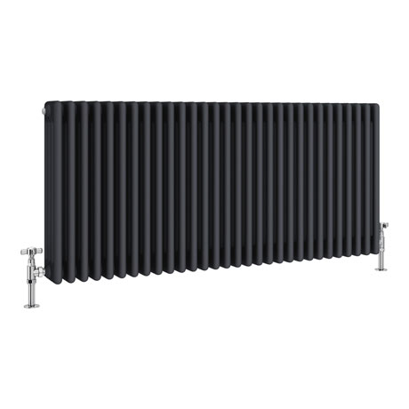 Keswick 600 x 1340mm Cast Iron Style Traditional 4 Column Anthracite Radiator