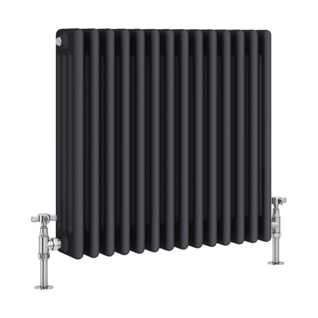 Keswick 600 x 636mm Cast Iron Style Traditional 4 Column Anthracite Radiator