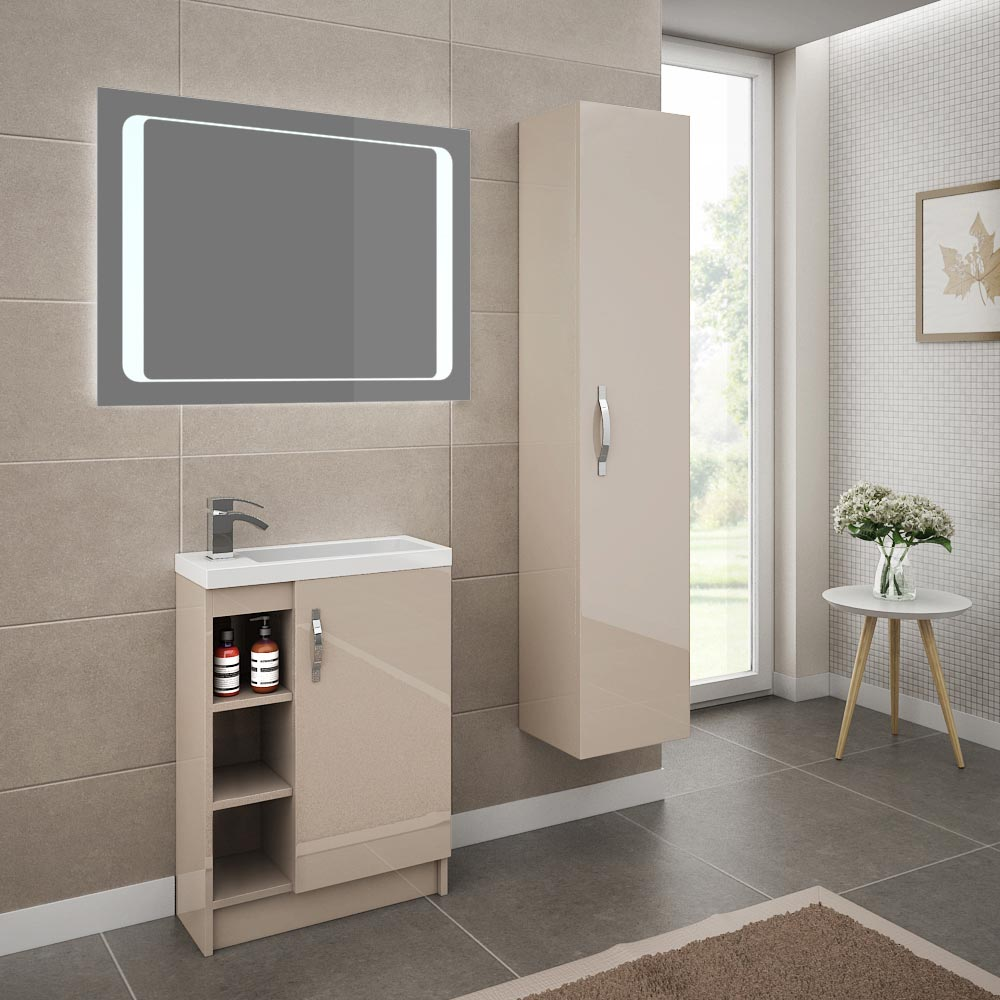 Apollo 600mm Compact Open Shelf Vanity Unit (Gloss Cashmere - Depth 255mm) Standard Large Image