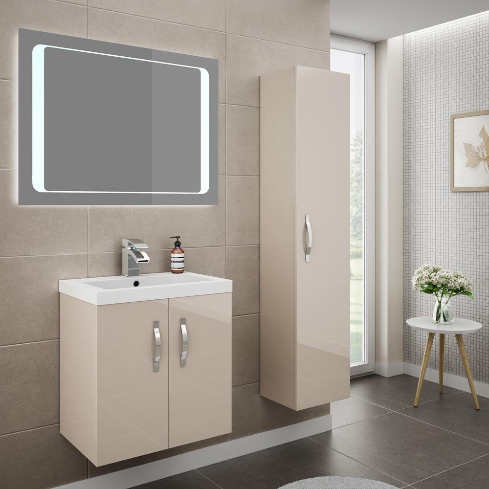 Apollo 500mm Wall Hung Vanity Unit (Gloss Cashmere - Depth 355mm) profile large image view 4