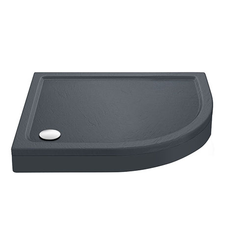 Aurora RH Slate Effect Stone Offset Quadrant Shower Tray + Riser Kit
