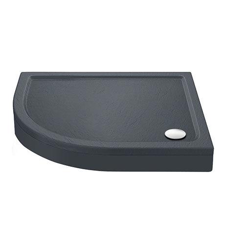 Aurora LH Slate Effect Stone Offset Quadrant Shower Tray + Riser Kit
