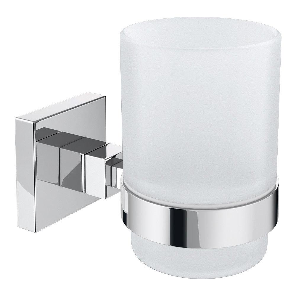 Milan Glass Tumbler with Chrome Holder
