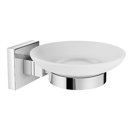Milan Glass Soap Dish with Chrome Holder