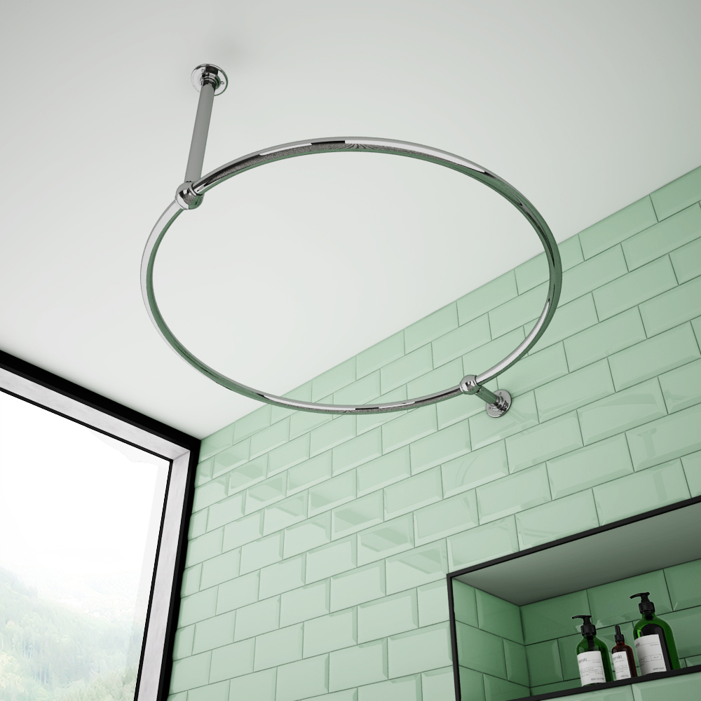 Chatsworth Traditional 850mm Chrome Double Support Circular Shower Curtain Rail