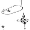 Chatsworth 1500 x 700mm Oval Shower Curtain Rail with 200mm Rose + Exposed Shower Valve profile small image view 1