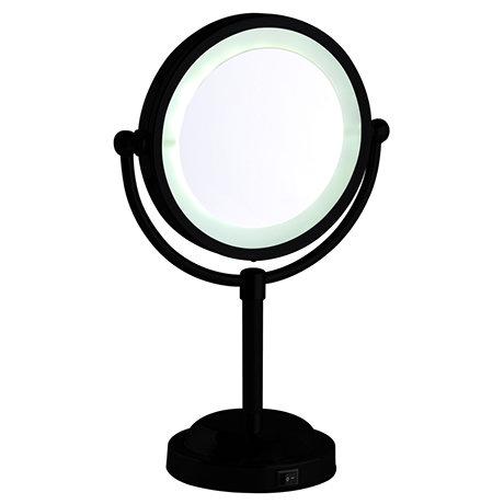 Arezzo Matt Black LED Illuminated Free Standing Cosmetic Mirror