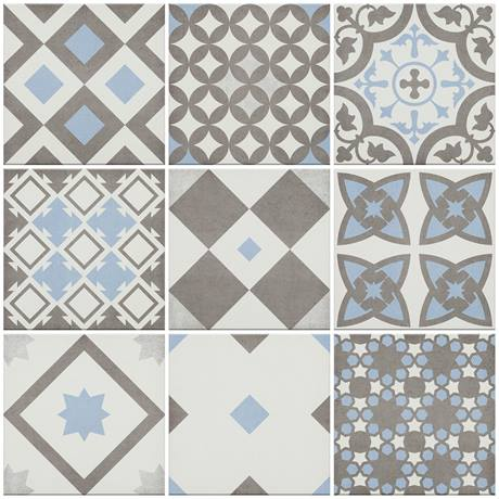 Alison Cork Light Blue Patterned Wall and Floor Tiles - AC212