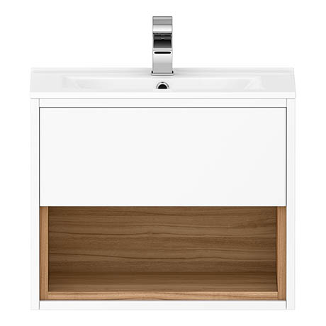 Alison Cork 600mm Wall Mounted Vanity Unit & Basin - Gloss White/Coco Bolo - AC255