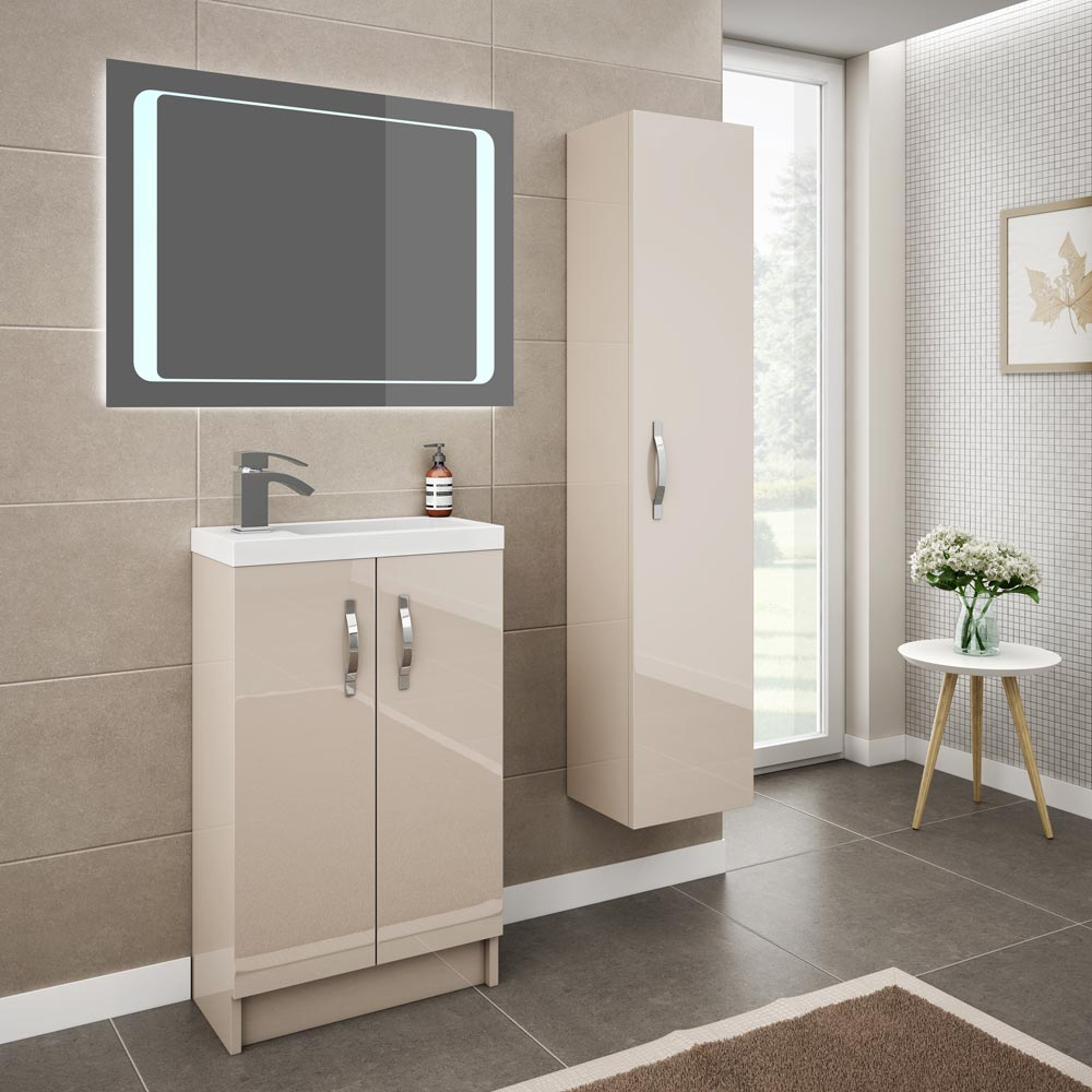 Apollo 600mm Compact Floor Standing Vanity Unit (Gloss Cashmere - Depth 255mm) profile large image view 4