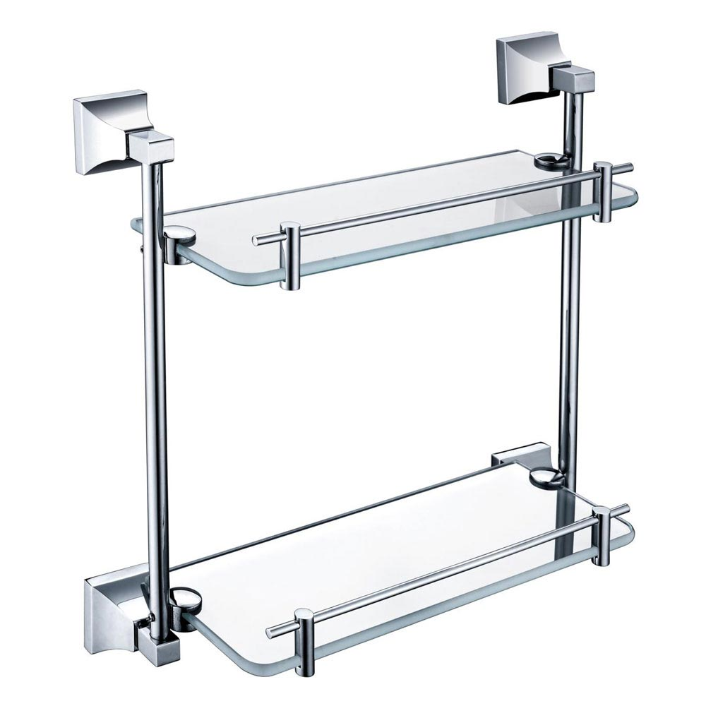 Heritage Chancery Double Glass Shelf - Chrome - ACHDGSC Large Image