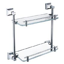 Heritage Chancery Double Glass Shelf - Chrome - ACHDGSC Medium Image