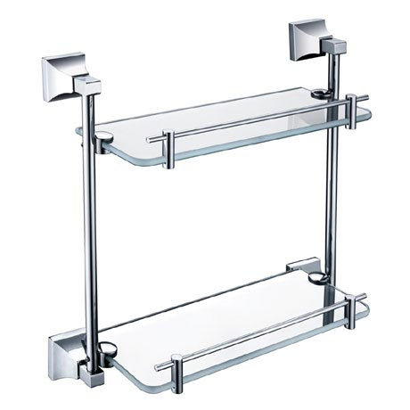 Heritage Chancery Double Glass Shelf - Chrome - ACHDGSC