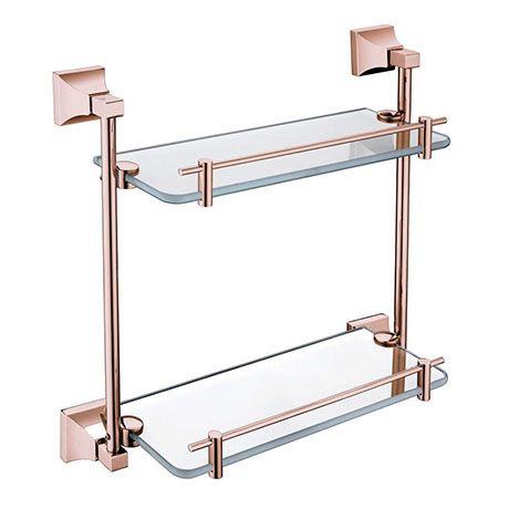 Heritage Chancery Double Glass Shelf - Rose Gold - ACHDGSRG