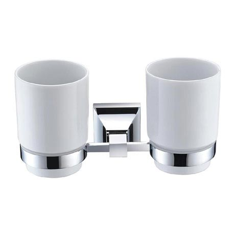 Heritage Chancery Double Tumbler & Holder - Chrome - ACHDTHC