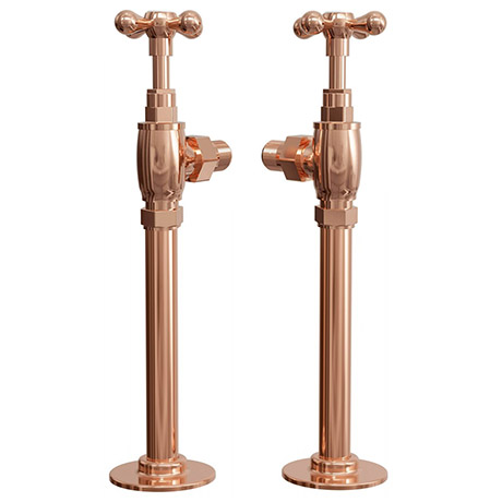 Rose Gold Angled Traditional Radiator Valves