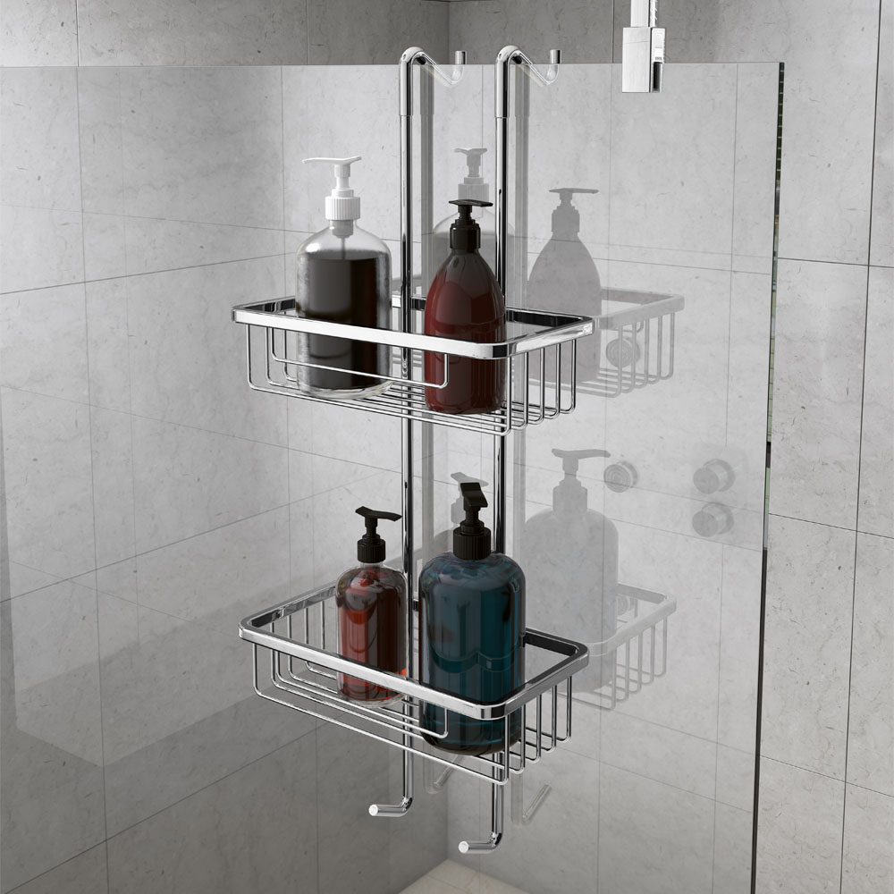 Alberta 2 Tier Hanging Shower Caddy - Chrome
