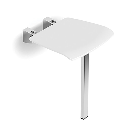 HiB White Shower Seat with Support Leg -  ACSSWHI02