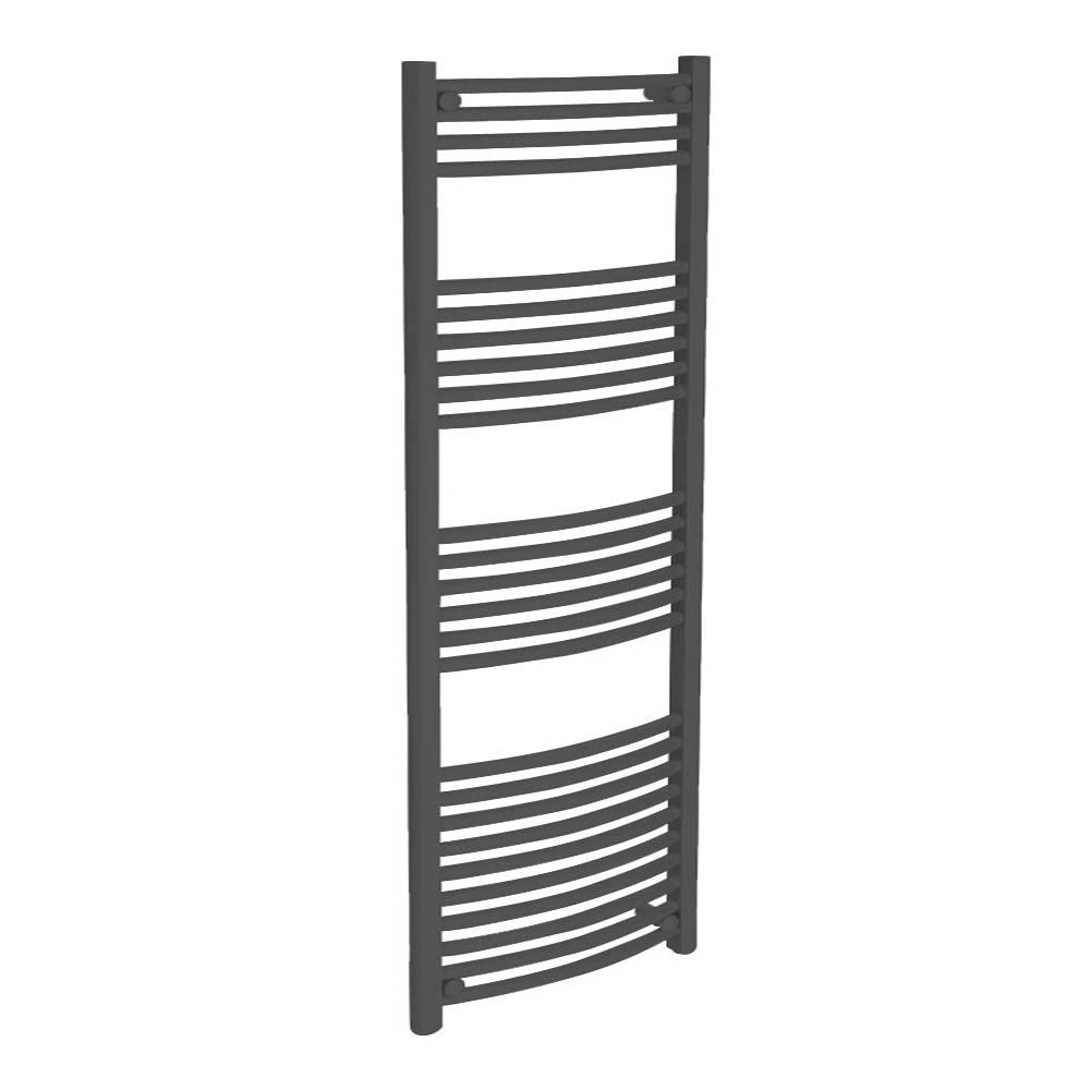 Diamond Curved Heated Towel Rail - W600 x H1600mm - Anthracite Large Image