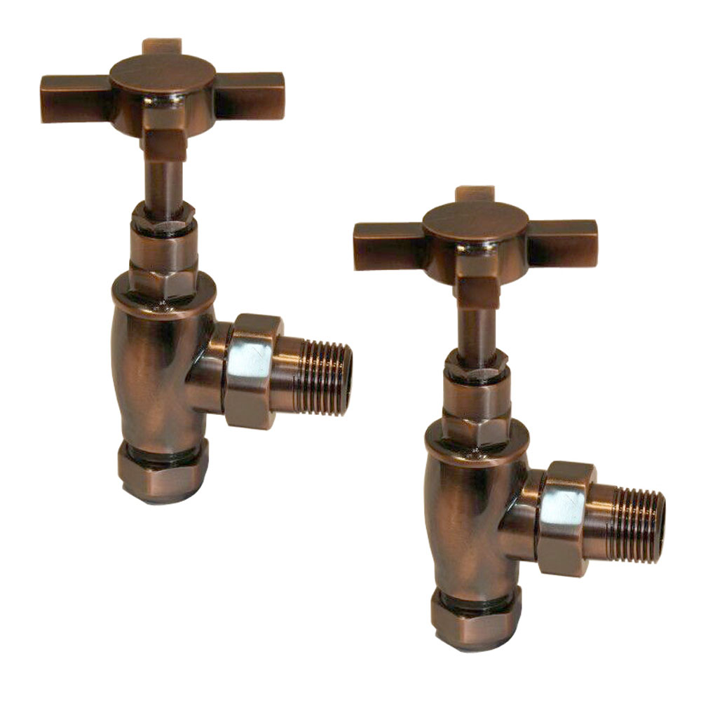 Antique Copper Traditional Angled Radiator Valves