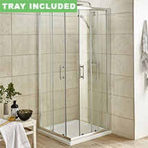 Pacific Corner Entry Square Shower Enclosure (Inc. Shower Tray + Waste) Medium Image