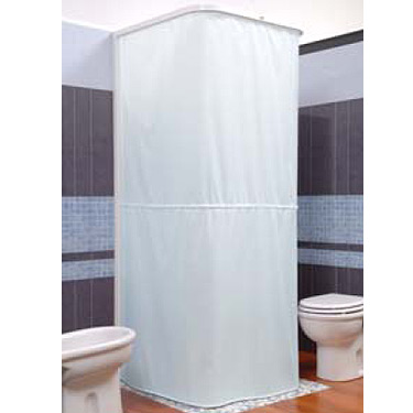 Croydex Textile Shower Curtain for use with U Shaped Rail and Wall Profile - White profile large image view 1