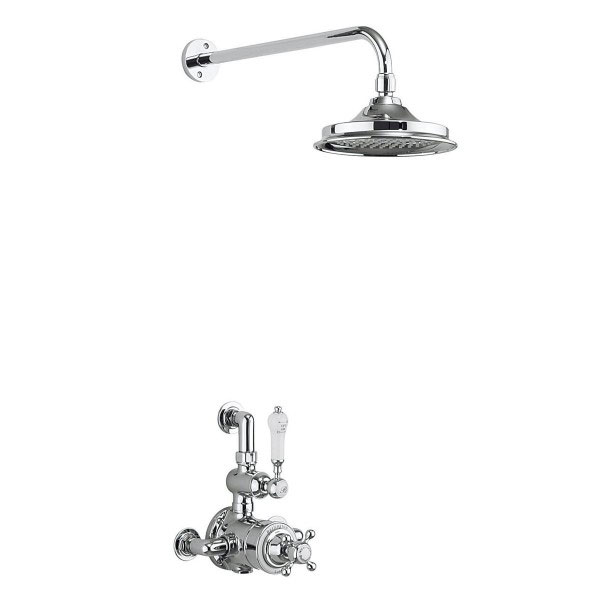 Burlington Avon Thermostatic Exposed Single Outlet Shower Valve with Fixed Head Large Image