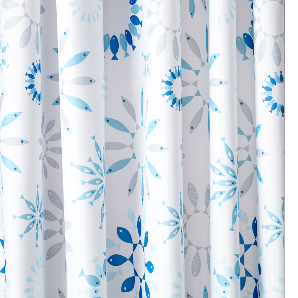 Croydex Kaleidoscope Fish Textile Shower Curtain W1800 x H1800mm - AF288824 Large Image