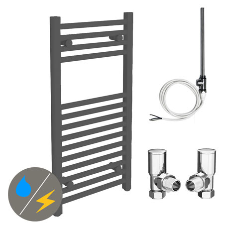 Diamond Anthracite 400 x 800mm Straight Heated Towel Rail (Inc. Valves + Electric Heating Kit)