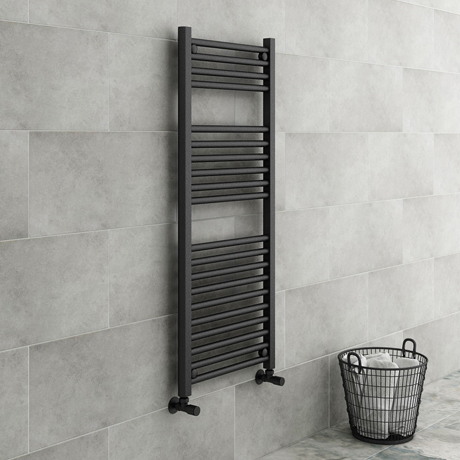 Diamond Heated Towel Rail - W500 x H1200mm - Anthracite